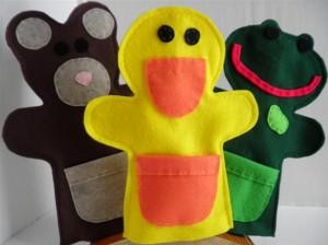Lou Bugs Boutique Brown Bear Yellow Duck Green Frog felt hand puppets