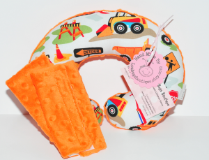 Lou Bugs Boutique Child Toddler Travel Neck Pillow with construction print fabric on top and orange minky fabric on bottom