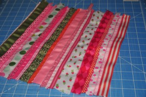 strips of ribbon sewn on fabric square