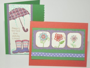 two red purple and green greeting cards
