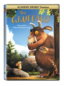 The Gruffalo DVD cover with small brown mouse and a big hairy horned animal with fangs