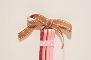 ribbon tied into a bow.