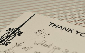 letterpressed thank you card with design