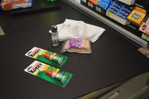 supplies on a check stand belt