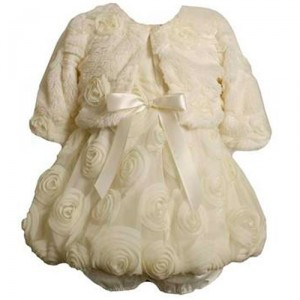 fancy dress and coat with ivory ruffles