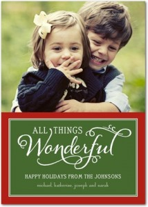 All things wonderful printed on a classic green and red holiday card