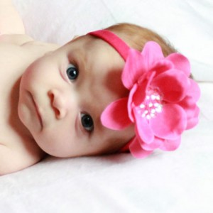Zilly Bean Hot Pink Sequin Flower Skinny Headband