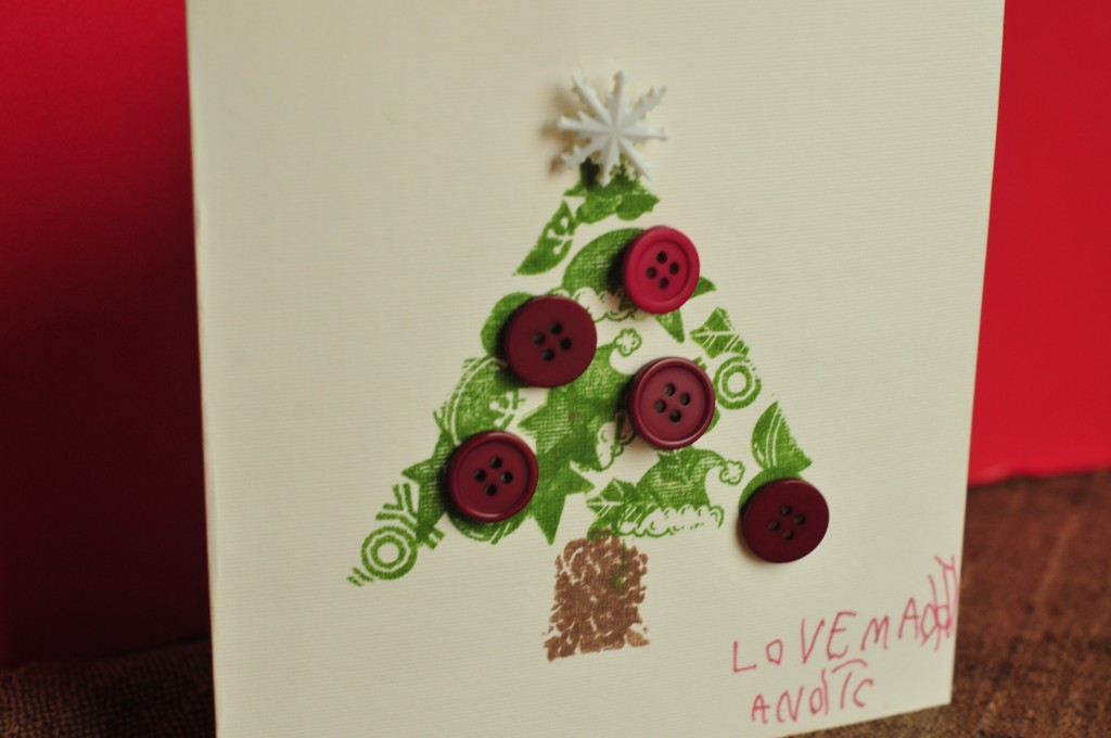 card with tree and buttons