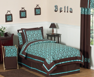turquoise and brown damask bedding set
