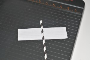 straw attached to center of back cut out paper flags