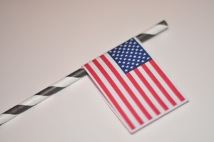 paper flag on straw