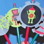 Birthday Party Robot Pencil Toppers