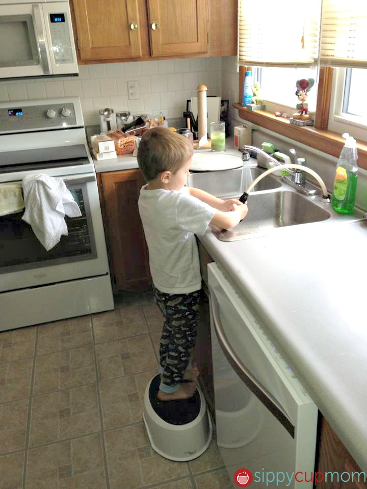Toddler Doing the Dishes