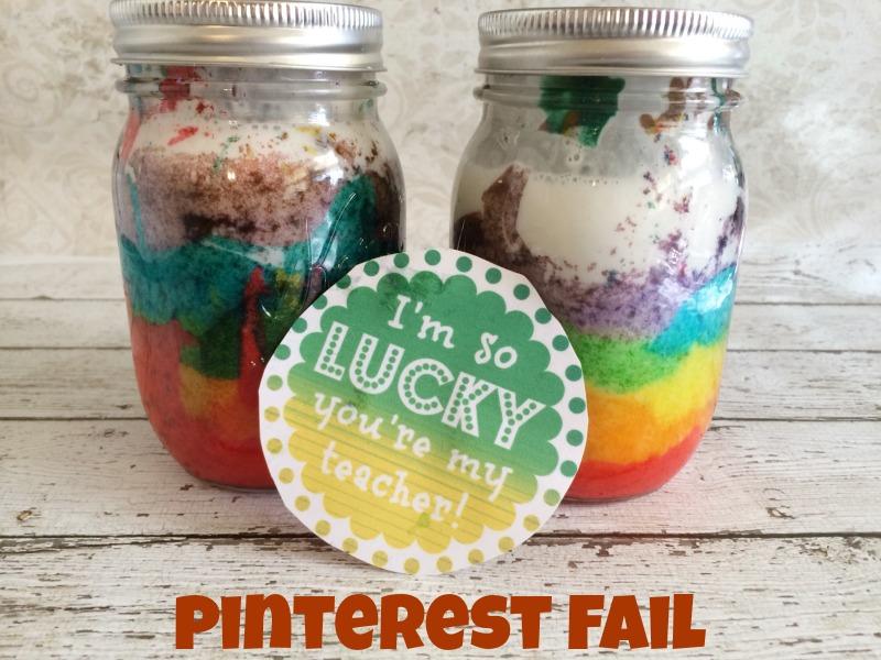 Rainbow Cake in a Jar Pinterest Fail