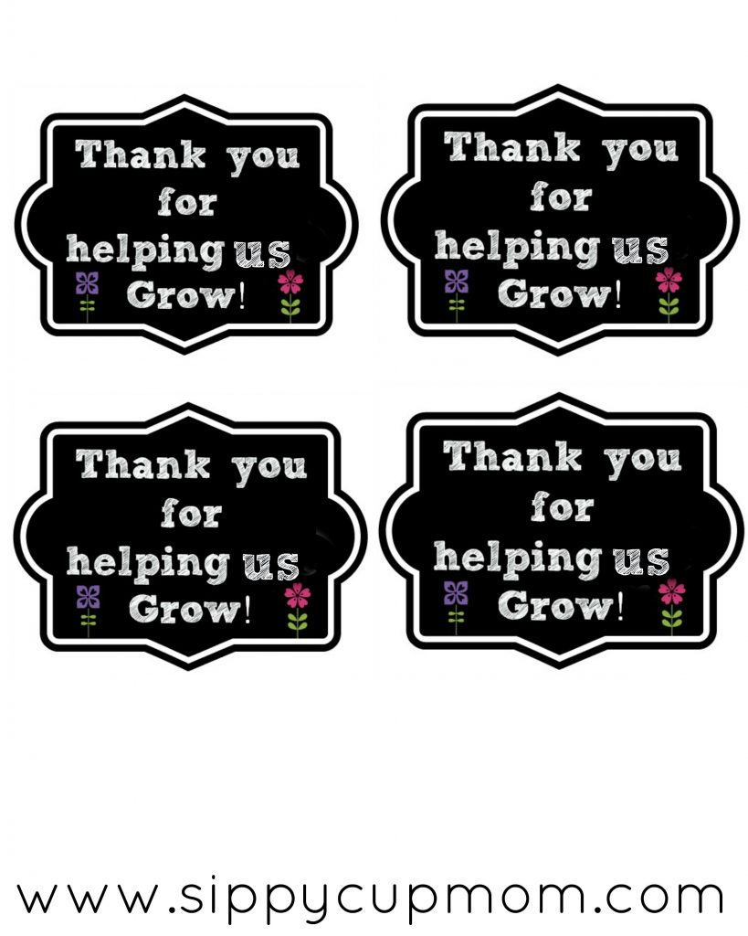 Thank You For Helping Me Grow Printable