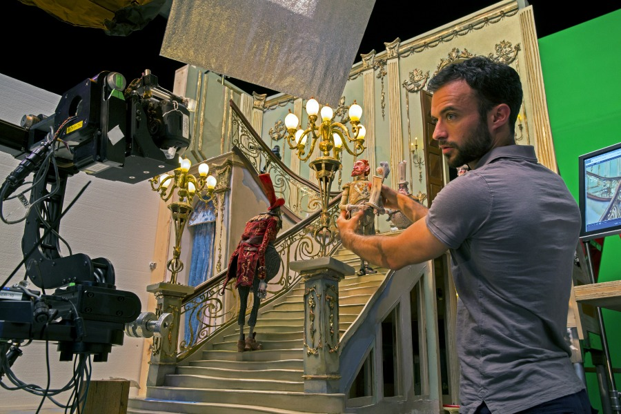 Florian Perinelle works with the Lord Portley-Rind puppet during production of LAIKA and Focus Features' family event movie THE BOXTROLLS, opening nationwide September 26th. Credit: John Leonhardt / LAIKA, Inc.