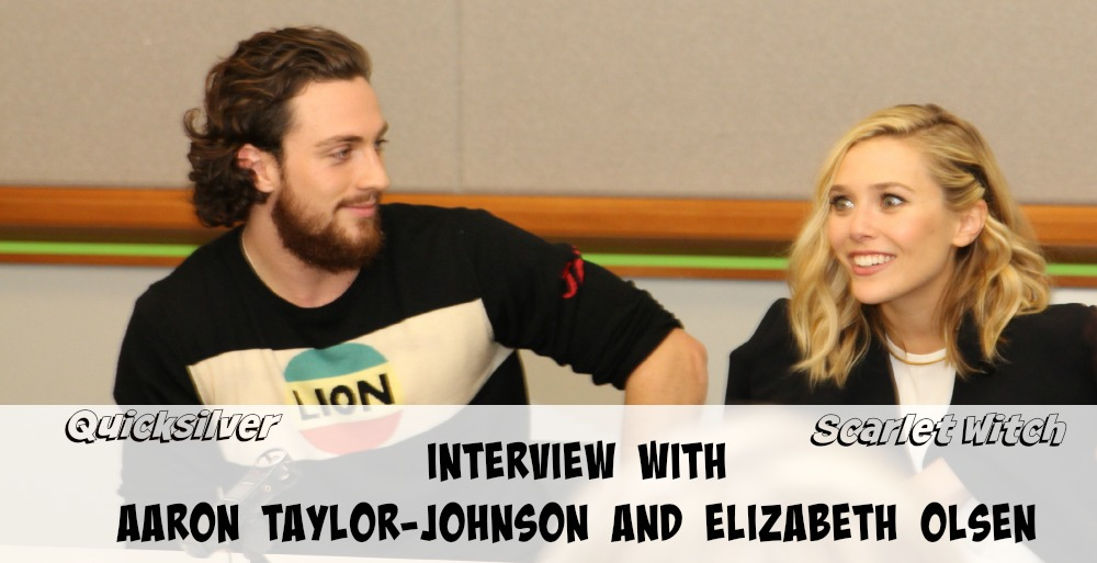 Exclusive Interview with Aaron Taylor-Johnson and Elizabeth Olsen who play Quicksilver and Scarlet Witch in Avengers: Age of Ultron #AvengersEvent
