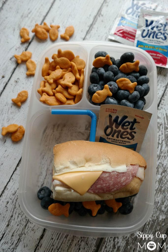 Goldfish and Wet Ones Lunch