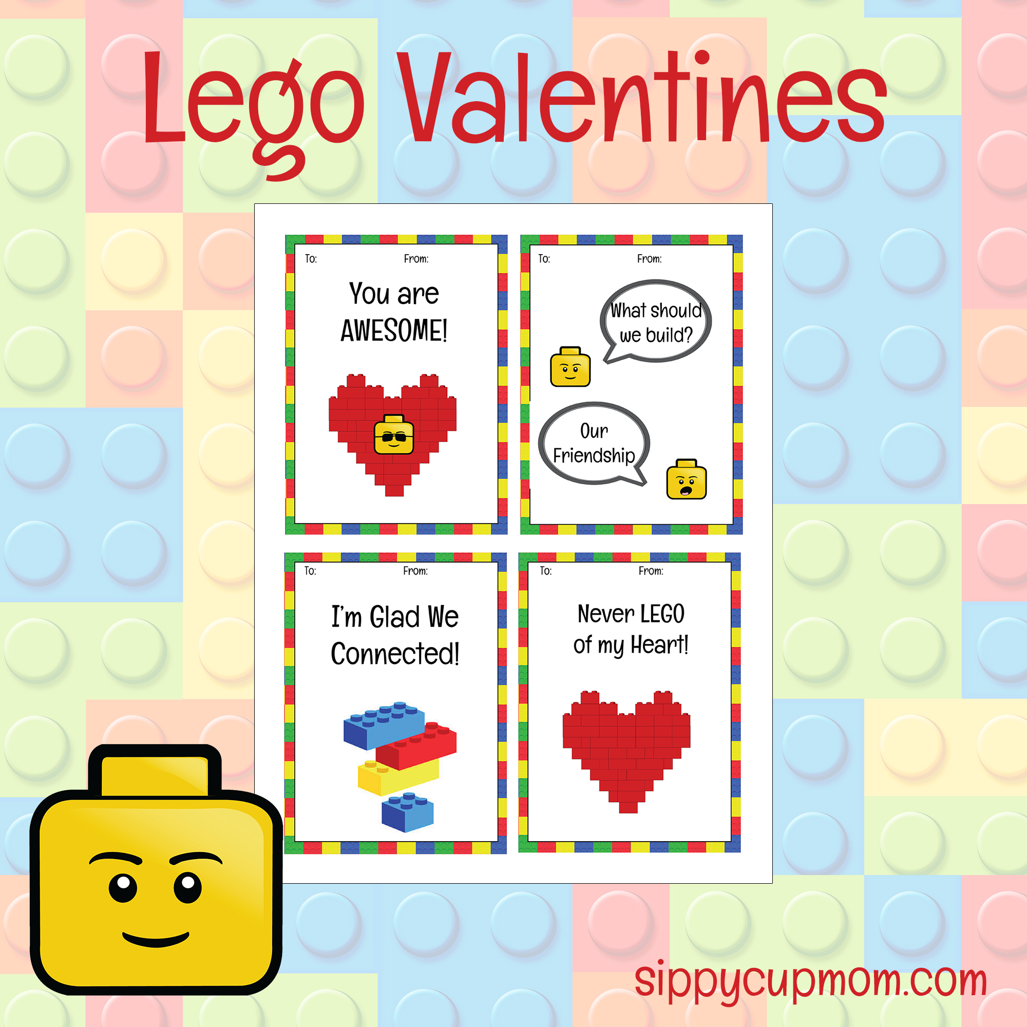 graphic relating to Printable Valentine Day Cards for Kids called Absolutely free Printable LEGO Valentines Working day Playing cards - Sippy Cup Mother