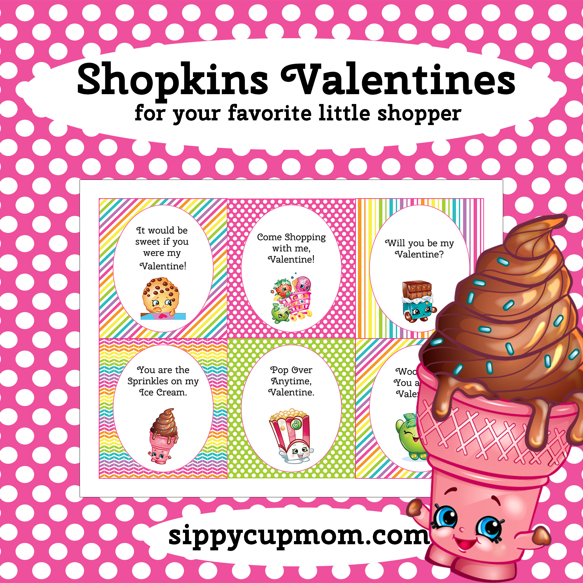 picture relating to Printable Shopkins Pictures named No cost Printable Shopkins Valentines Working day Playing cards - Sippy Cup Mother