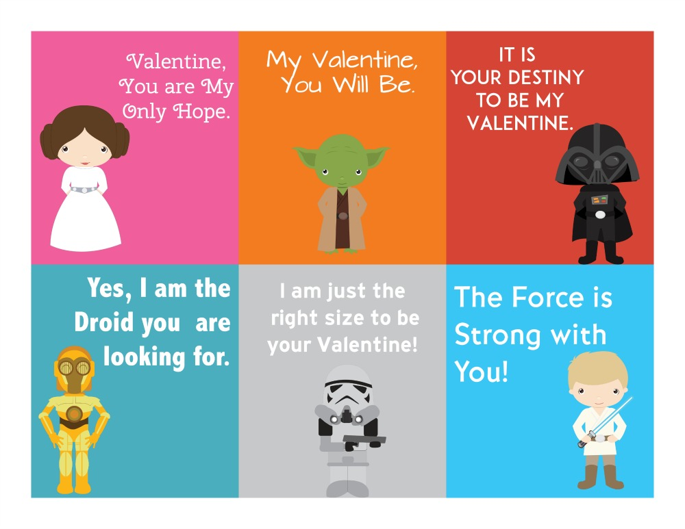 graphic about Star Wars Printable Cards known as Free of charge Printable Star Wars Valentines Working day Playing cards - Sippy Cup Mother