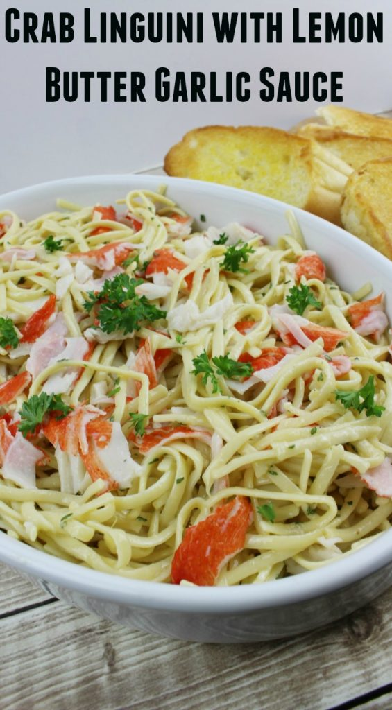 Make this easy Crab Linguini with Lemon Butter Garlic Sauce for dinner!