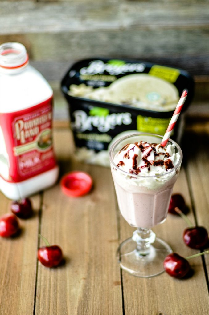 Very Cherry Vanilla Milkshake with Promised Land Milk and Breyer's Vanilla Ice Cream
