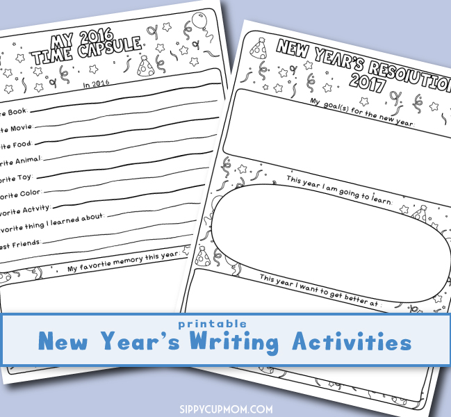 Printable New Year's Writing Activities for Kids