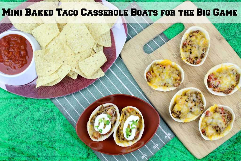 Mini Baked Taco Casserole Boats for the Big Game