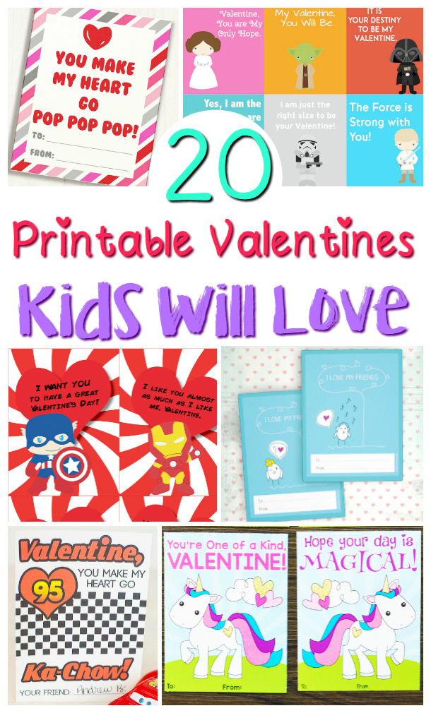 image relating to Printable Valentine Day Cards for Kids referred to as 20 Printable Valentines Working day Playing cards For Youngsters - Sippy Cup Mother