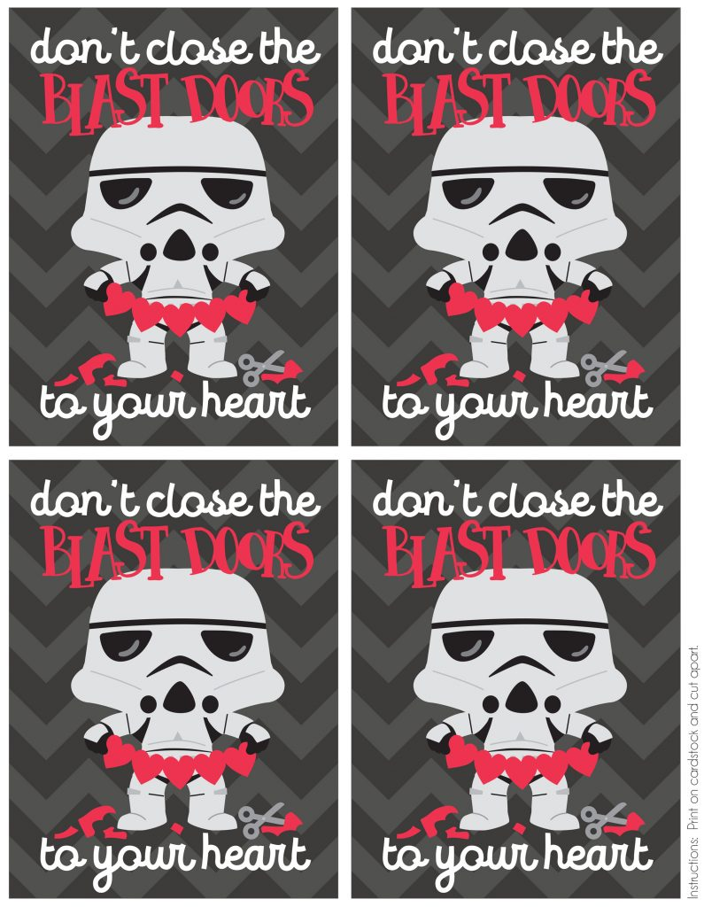 Free Printable Stormtrooper Valentine's Day Cards