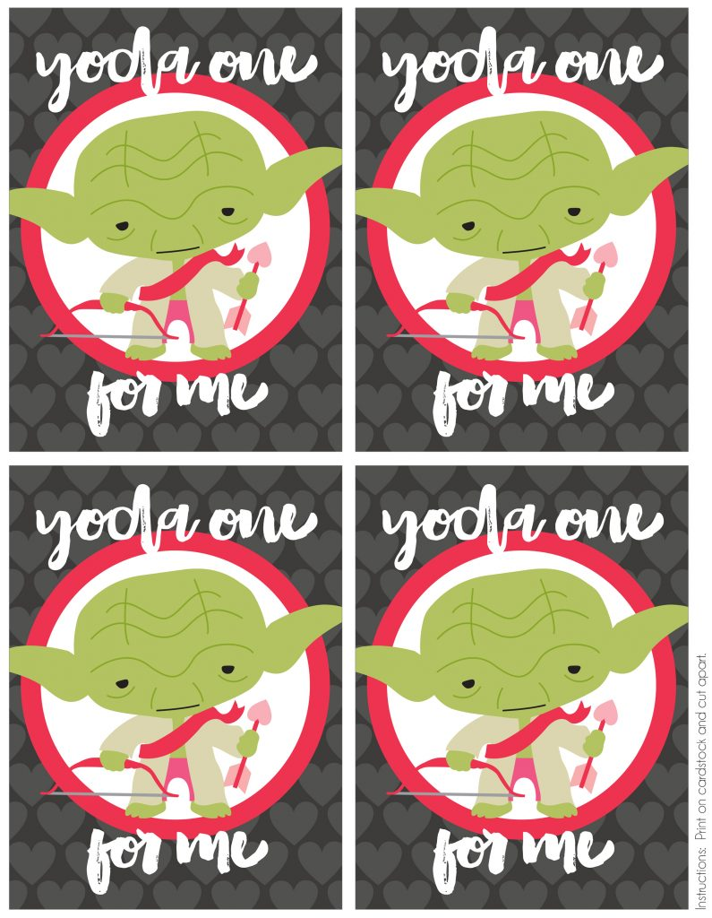 Free Printable Yoda Valentine's Day Cards