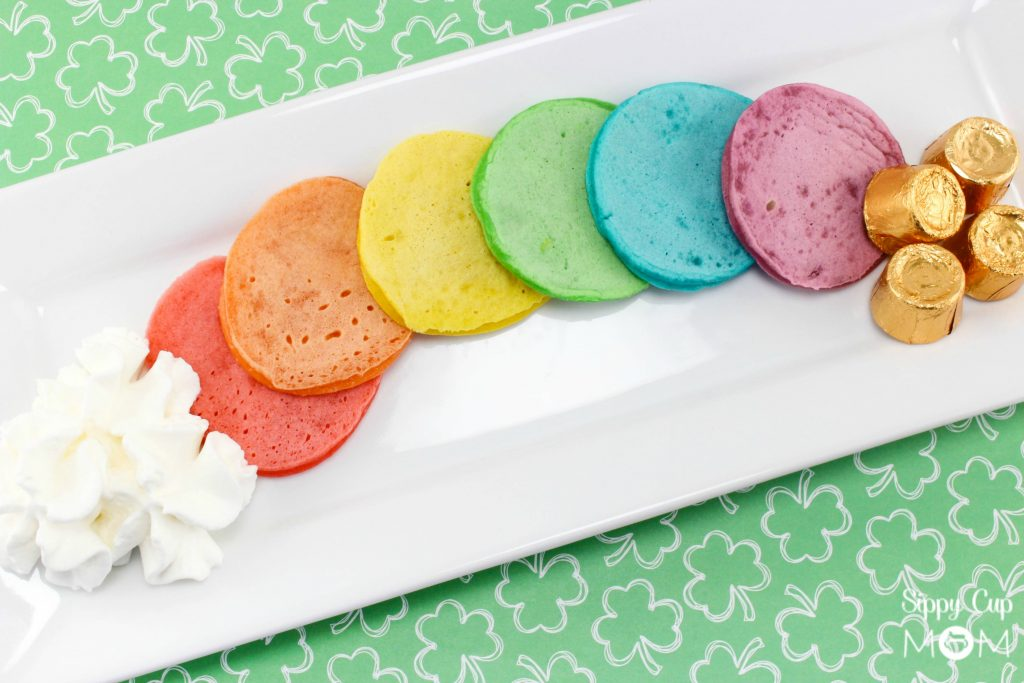 Mini Rainbow Pancakes for St. Patrick's Day