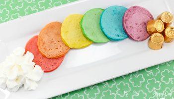 Mini Rainbow Pancakes for St. Patrick's Day