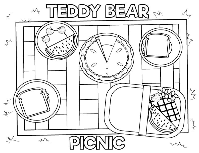 Teddy Bear Picnic Coloring Pages -Free and fun! | 612x792