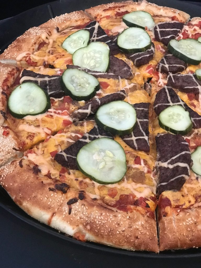 Cheeseburger Pizza at Alien Pizza Planet